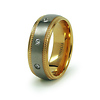 8mm Men's Milgrain Gold Overlay Titanium CZ Eternity Wedding Band