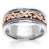 9mm Art Deco Rose Gold Flourish 14K Two Tone Wedding Ring for Men