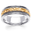 14K Two Tone Gold Ivy Carved Wedding Band
