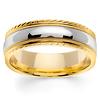 Carved Edge 14K Two Tone Gold  Milgrain Wedding Ring