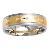 Brush Finish Designer Two Tone 14K Gold Wedding Ring
