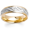 14K Weave Carved Finish Two Tone Wedding Band
