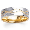 Wave Design 14K Two Tone Gold Wedding Band