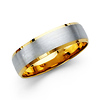 6mm Brushed Center 14K Two Tone Gold Men's Wedding Band