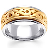 14K Scroll Design Two Tone Wedding Band