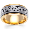 Scroll 14K Two Tone Gold Wedding Band