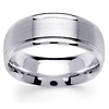 8mm Raised Brushed Center 14K White Gold Men's Wedding Ring