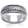 8mm 14K White Gold Rope and Braid Wedding Band