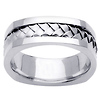 Cornered Edge Braid 14K White Gold Wedding Ring