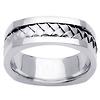 Cornered Edge Braid 14K White Gold Wedding Ring