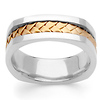 Cornered Edge Braid 14K Two Tone Gold Wedding Ring