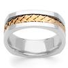 Cornered Edge Braid 14K Two Tone Gold Wedding Ring