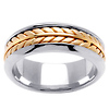 8mm Wheat Braid 14K Two Tone Gold Wedding Band