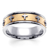 14K Two Tone Gold Cross Christian Wedding Ring