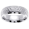 Beveled Hammer Finish Milgrain 14K White Gold Wedding Band