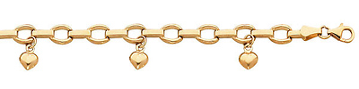 gold bracelet with heart charms