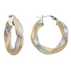 Greek Key Swirl 14K Two Tone Gold Hoop Earrings
