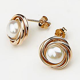 pearl love knot studs