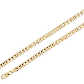 Men's 6mm Concave Curb Link 18K Yellow Gold Chain